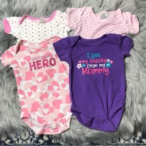 4 baby girl short sleeved bodysuits 0-3 months